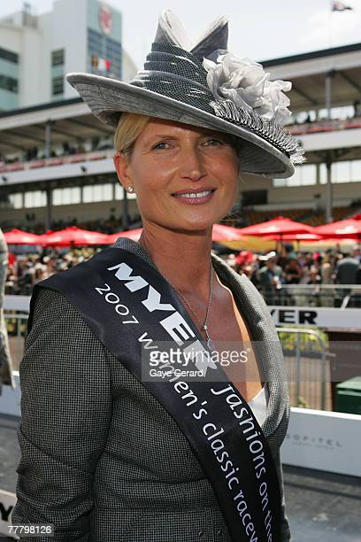 Winner of the Fashions On The Field best dressed award Lorraine Cookson poses during the Myer Fashions On The Field event on Crown Oaks Day as part...