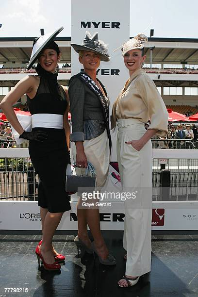 Winner of the Fashions On The Field best dressed award Lorraine Cookson poses during Myer Fashions on the Field on Crown Oaks Day as part of the...
