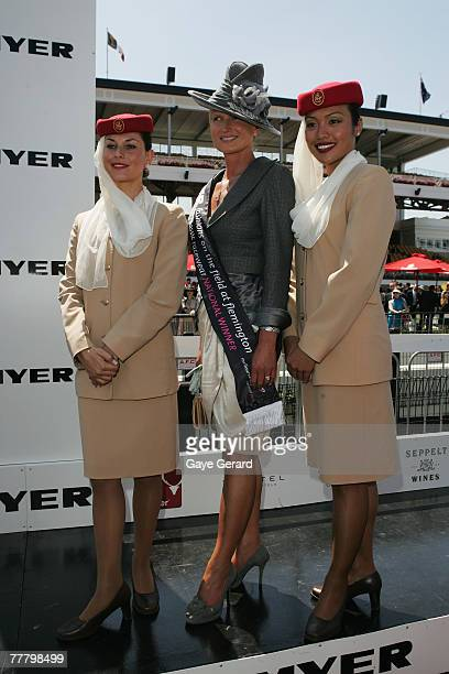 Winner of the Fashions on the Field best dressed Lorraine Cookson poses during the Myer Fashions On The Field event on Crown Oaks Day as part of the...