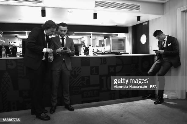 Winner of The FIFA Best Mens Award Cristiano Ronaldo looks on after The Best FIFA Football Awards at The London Palladium on October 23 2017 in...