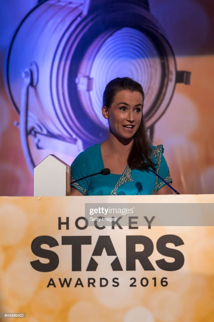 Winner of the FIH Female Goal Keeper of the Year Maddie Hinch of England and Great Britain speaks during the FIH Hockey Stars Awards 2016 at Lalit...