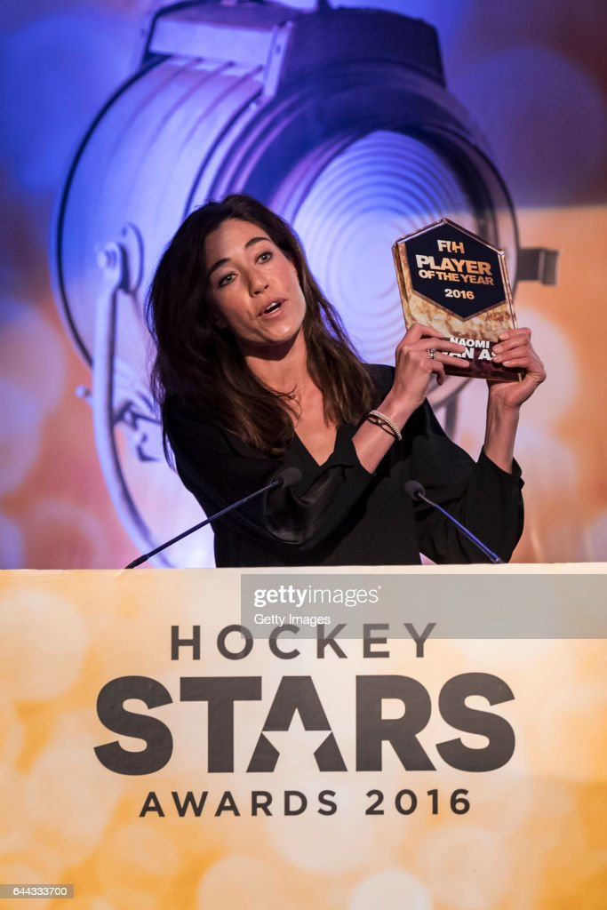 Winner of the FIH Female Player of the Year Naomi Van As of Netherlands speaks during the FIH Hockey Stars Awards 2016 at Lalit Hotel on February 23..