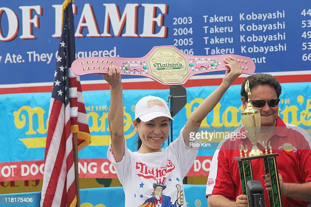 Winner of the first Nathan's Hot Dog Eating Contest for Women Sonya Thomas attends the 2011 Nathan's Famous Fourth Of July International Hot Dog...