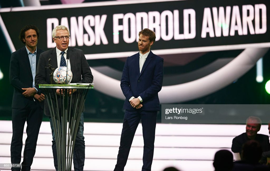 Winner of the Football Club of the Year Award Spjald IF receives the trophy on stage during the Danish Football Award Show at Forum Horsens on March 20, 2017 in Horsens, Denmark.