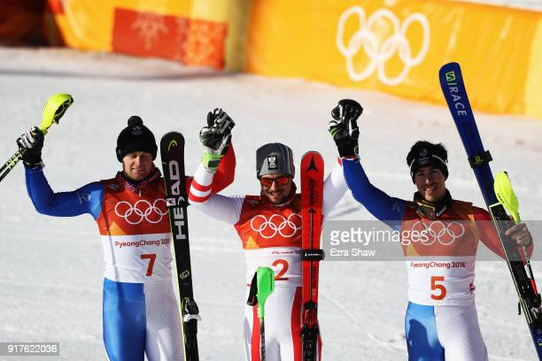 Winner of the gold Marcel Hirscher of Austria winner of the silver Alexis Pinturault of France and winner of the bronze Victor MuffatJeandet of...