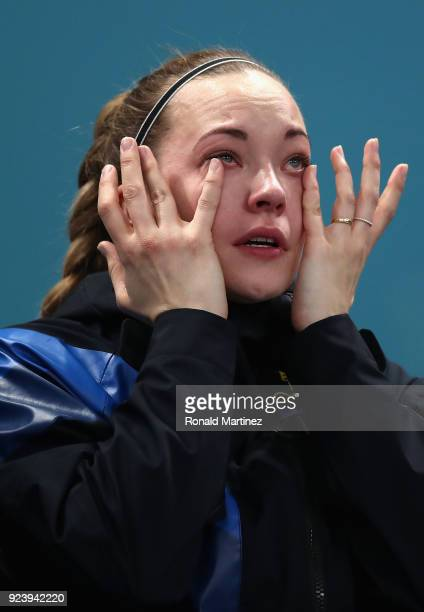 Winner of the gold medal Agnes Knochenhauer of Sweden shows her emotions during the Women's Gold Medal Game between Sweden and Korea on day sixteen...