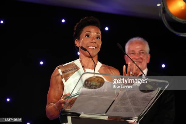 Winner of the Health & Fitness Book of the Year, Dame Kelly Holmes makes her acceptance speech during the Sports Book Awards at Lord's Cricket Ground...