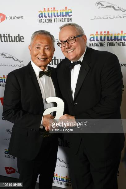 Winner of the 'Icon' award George Takei and husband Brad Takei pose in the winner's room at The Virgin Holidays Attitude Awards at The Roundhouse on...