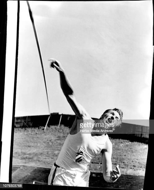 "Winner of the Javelin event, Sigmund Koscik, Sydney Uni with a throw of 250' 10"". ."