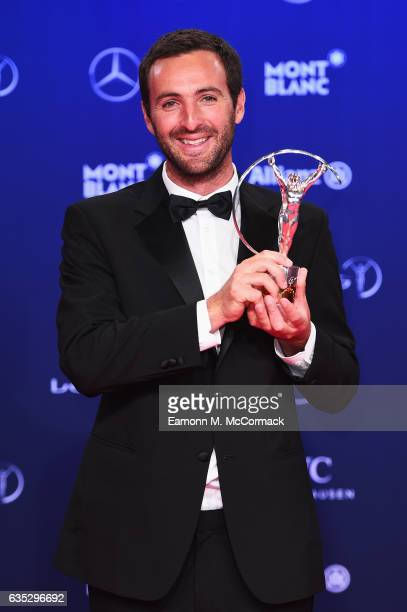 Winner of the Laureus Sport For Good award Tim Conibear from Waves For Change with his trophy at the Winners Press Conference and Photocall during...