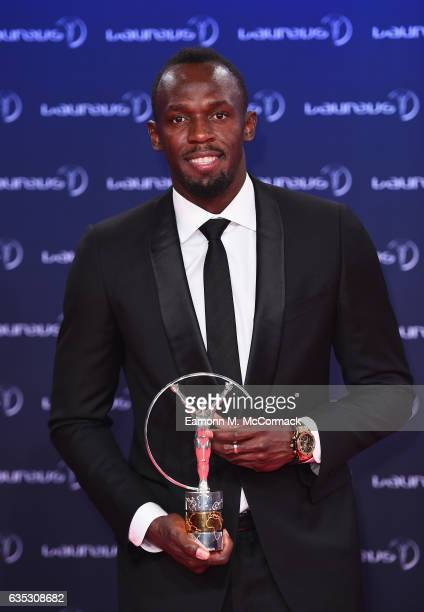 Winner of the Laureus World Sportsman of the Year Award Athlete Usain Bolt of Jamaica poses with his trophy at the Winners Press Conference and...