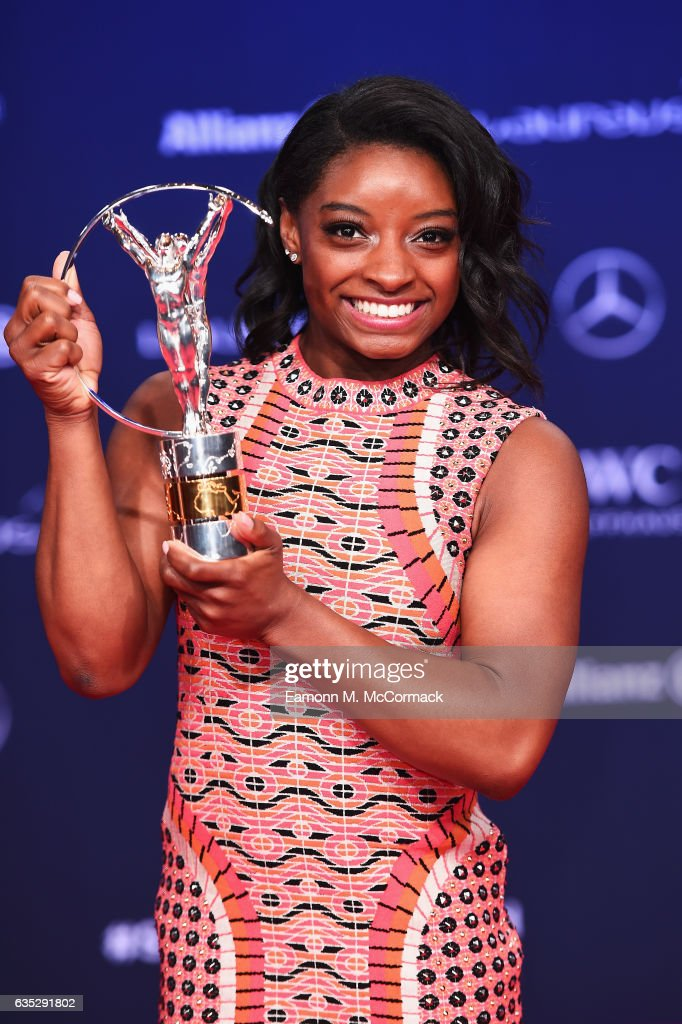 Winner of the Laureus World Sportswoman of the Year Award Gymnast Simone Biles of the US poses with her trophy the Winners Press Conference and Photocall during the 2017 Laureus World Sports Awards at the Salle des Etoiles,Sporting Monte Carlo on February 14, 2017 in Monaco, Monaco.