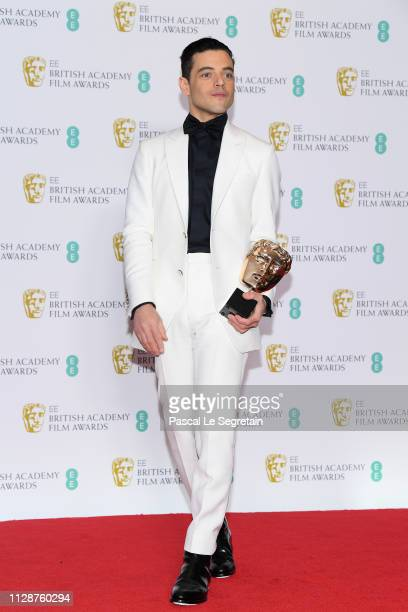 Winner of the Leading Actor award for Bohemian Rhapsody Rami Malek poses in the press room during the EE British Academy Film Awards at Royal Albert...