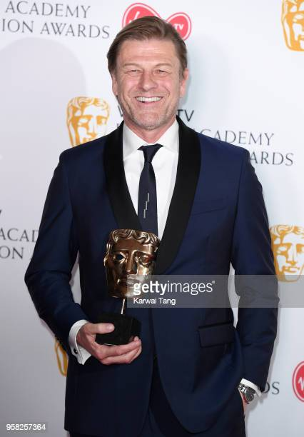 Winner of the Leading Actor award for 'Broken' Sean Bean poses in the press room during the Virgin TV British Academy Television Awards at The Royal...