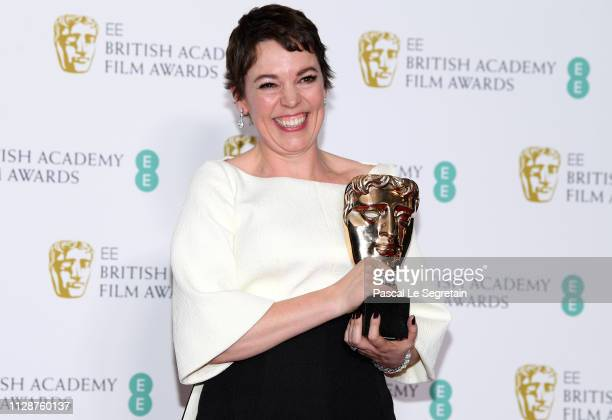 Winner of the Leading Actress award for The Favourite Olivia Colman poses in the press room during the EE British Academy Film Awards at Royal Albert...