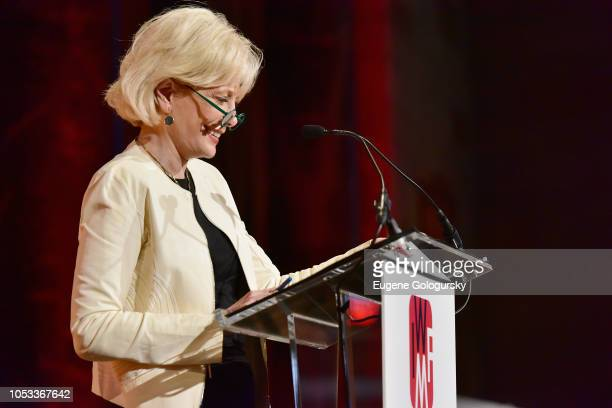 Winner of the Lifetime Achievement Award Lesley Stahl speaks onstage during the International Women's Media Foundation's 2018 Courage in Journalism...