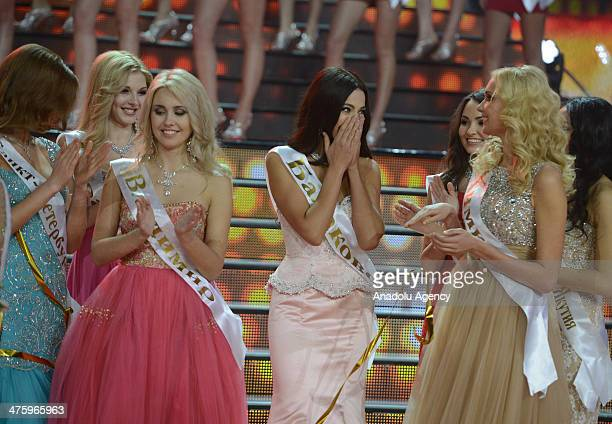 Winner of the Miss Russia 2014 beauty contest Yulia Alipova from Balakovo competes during the Miss Russia 2014 beauty contest in Moscow Russia on...