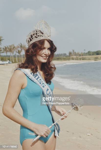 Winner of the Miss Universe 1972 pageant, Kerry Anne Wells of Australia, pictured wearing a blue bathing costume and the winner's crown and sash on...