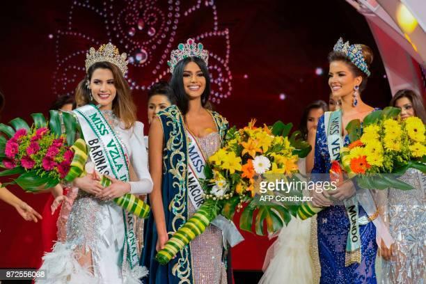 Winner of the Miss Venezuela 2017 beauty peageant Sthefany Gutierrez poses for pictures next to Veruska Ljubisavljevic and Mariem Velazco in Caracas...