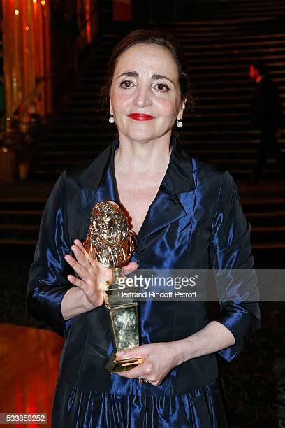 Winner of the 'Moliere de la comedienne dans un spectacle de Theatre public' for 'Les Liansons Dangereuses' actress Dominique Blanc attends 'La 28eme...