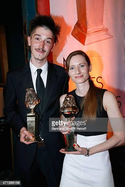 Winner of the 'Moliere de la Revelation Masculine' with 'Chere Elena' Francois Deblock and Winner of the 'Moliere de la Revelation Feminine' with...