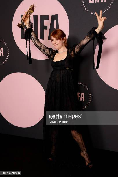 Winner of the Most Promising Newcomer Award for 'Beast' Jessie Buckley poses in the winners room at the 21st British Independent Film Awards at Old...