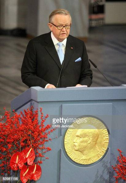 Winner of the Nobel Peace Prize 2008 Martti Ahtisaari gives an acceptance speech at the Nobel Peace Prize Ceremony 2008 in Oslo City Hall on December...