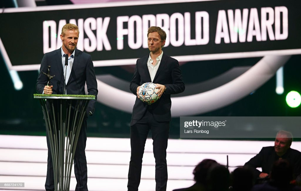 Winner of the Oddset Male Player of the Year Award Kasper Schmeichel of Leicester FC receives the trophy on stage during the Danish Football Award Show at Forum Horsens on March 20, 2017 in Horsens, Denmark.