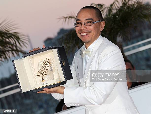Winner of the Palme d'Or director Apichatpong Weerasethakul attends the Palme d'Or Award Ceremony Photo Call held at the Palais des Festivals during...