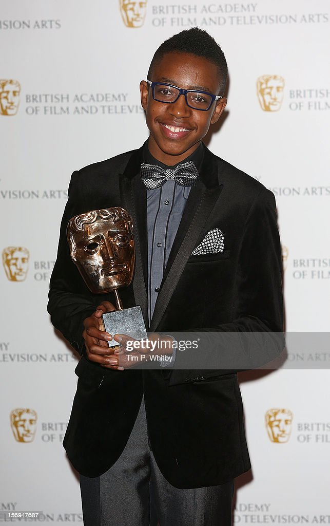 Winner of the Performer category Khali Madovi poses for a photograph in the press room at the British Academy Children's Awards at London Hilton on November 25, 2012 in London, England.