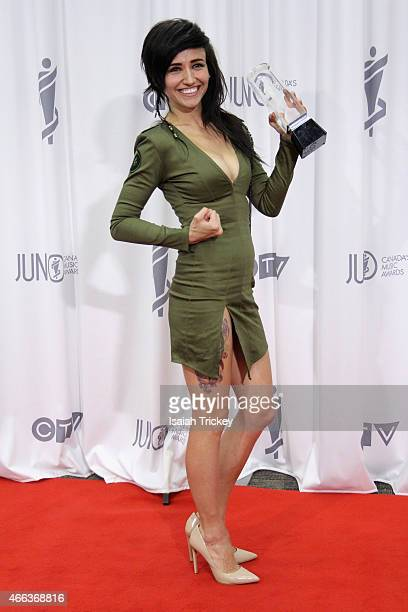 LIGHTS winner of the Pop Album of the Year award Poses in the press room at the JUNO Gala Dinner Awards at Hamilton Convention Centre on March 14...