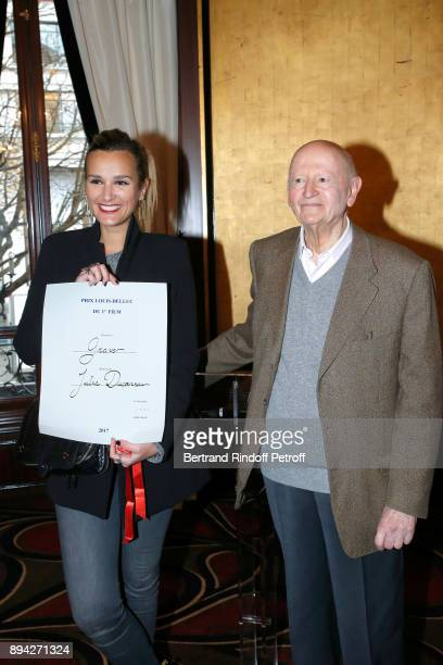Winner of the 'Prix Louis Delluc du Premier Film' Director Julia Ducournau for the movie 'Grave' and President of Jury Gilles Jacob attend the 75th...