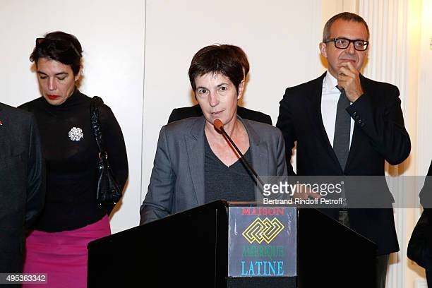 Winner of the Prize Christine Angot for her book 'Un amour impossible' attends the 'Prix Decembre' Literary Prize Winner Announcement at Maison de...