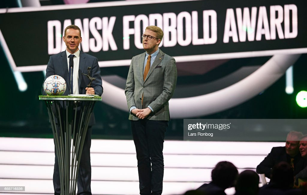 Winner of the Referee of the Year Award receives Jakob Kehlet the trophy on stage during the Danish Football Award Show at Forum Horsens on March 20, 2017 in Horsens, Denmark.
