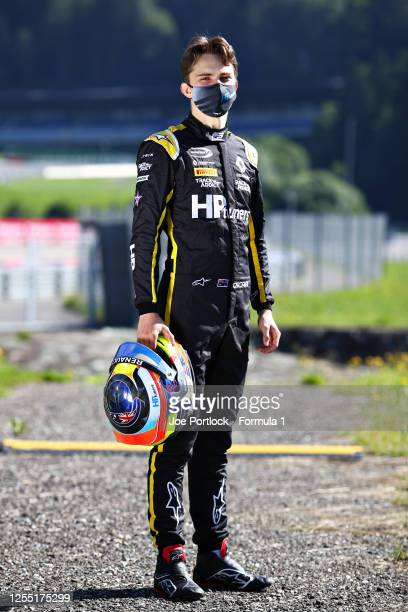 Winner of the Round 1 feature race Oscar Piastri of Australia and Prema Racing poses for a photo during previews for the Formula 3 Championship at...