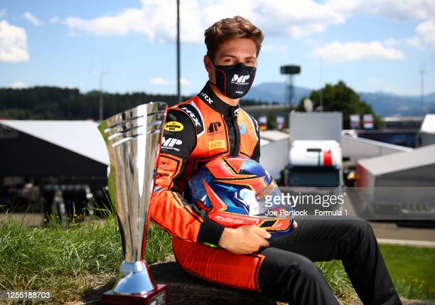 Winner of the round 1 sprint race Felipe Drugovich of Brazil and MP Motosport poses for a photo during previews for the Formula 2 Championship at Red...