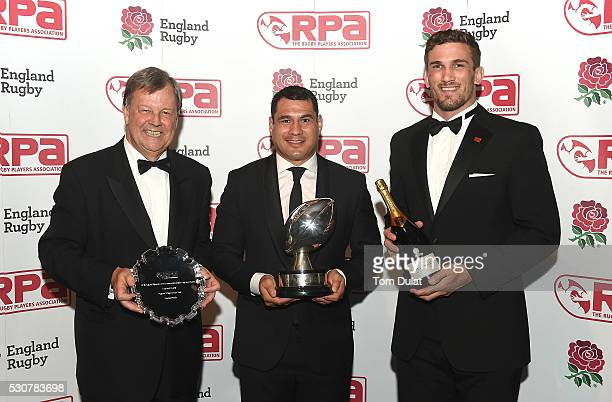 Winner of The RPA Players' Player of the Year in association with England Rugby Award George Smith poses for photos with Christian Day and Ian...