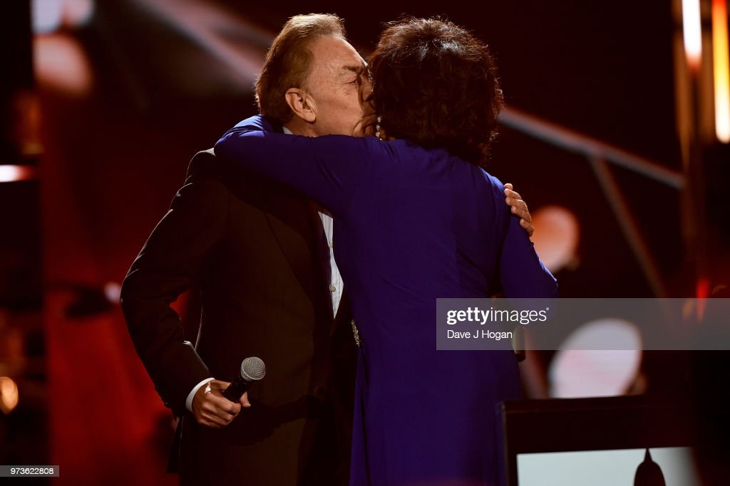 Winner of the Special Recognition Award, Sir Andrew Lloyd Webber (L) and Dame Shirley Bassey on stage during the 2018 Classic BRIT Awards held at Royal Albert Hall on June 13, 2018 in London, England.