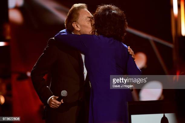 Winner of the Special Recognition Award Sir Andrew Lloyd Webber and Dame Shirley Bassey on stage during the 2018 Classic BRIT Awards held at Royal...