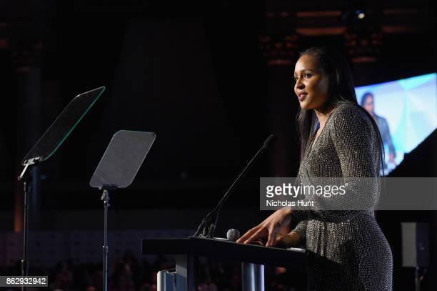Winner of the Sportswoman of the Year in a team sport Maya Moore receives her award onstage at The Women's Sports Foundation's 38th Annual Salute To...