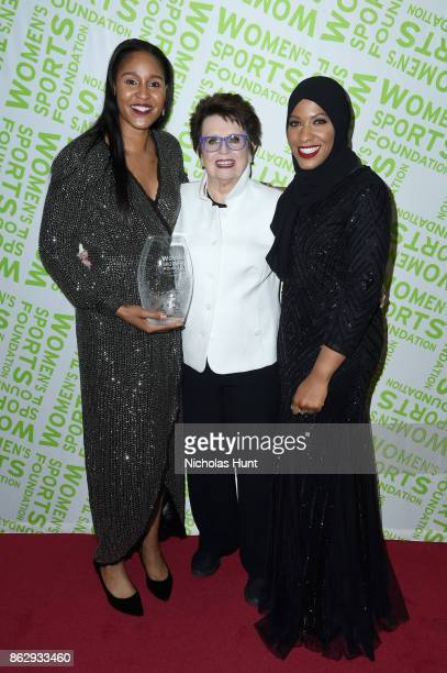 Winner of the Sportswoman of the Year in a team sport Maya Moore Billie Jean King and Ibtihaj Muhammad attend The Women's Sports Foundation's 38th...