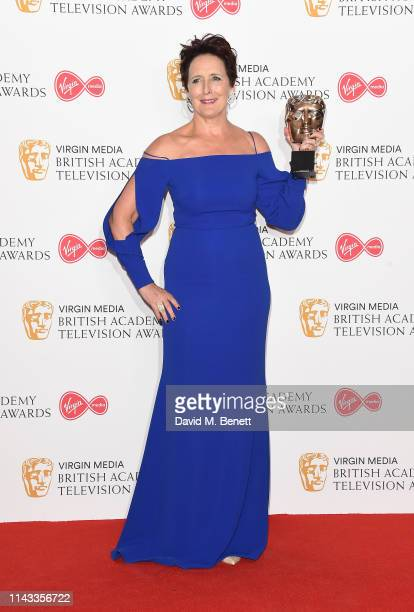 Winner of the Supporting Actress award for 'Killing Eve' Fiona Shaw poses in the press room at the Virgin Media British Academy Television Awards at...