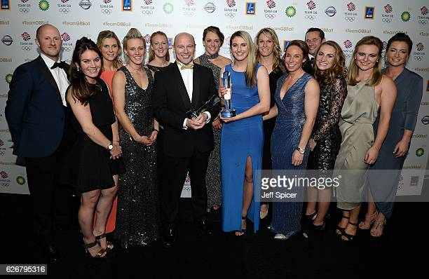 Winner of the Team GB Coach Award Team GB Women's Hockey coach Danny Kerry poses with the Team GB Women's Hockey team at the Team GB Ball at...