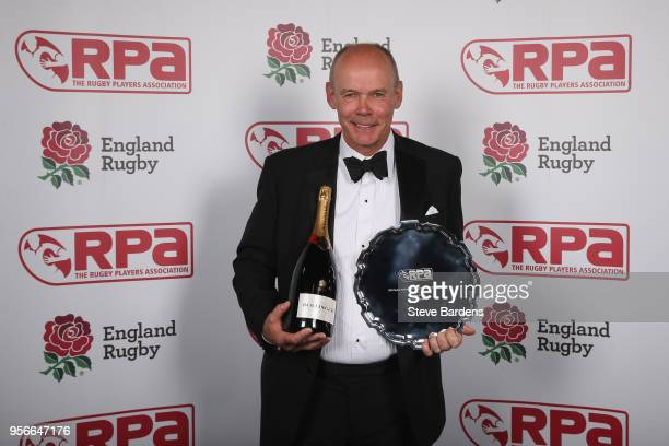 Winner of the 'The RPA Hall of Fame in association with Rise' Sir Clive Woodward during the The RPA Players' Awards 2018 at Battersea Evolution on...