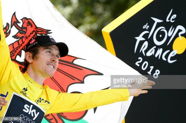 Winner of the Tour, yellow jersey Geraint Thomas of Great Britain and Team Sky during the final podium ceremony following stage 21 of Le Tour de...