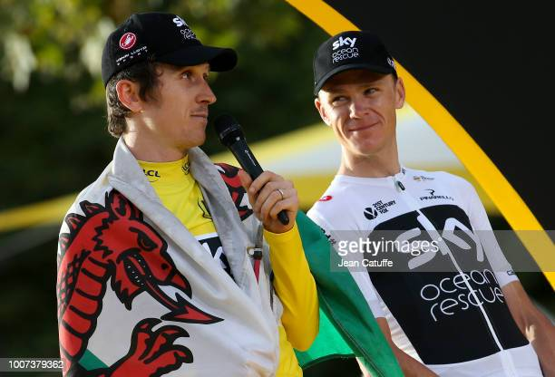 Winner of the Tour yellow jersey Geraint Thomas of Great Britain and Team Sky third place Chris Froome of Great Britain and Team Sky during the final...