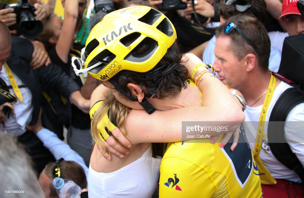 Winner of the Tour yellow jersey Geraint Thomas of Great Britain and Team Sky celebrates with his wife Sara Elen Thomas following stage 21 of Le Tour de France 2018 between Houilles and Paris - avenue des Champs-Elysees (116 km) on July 29, 2018 in Paris, France.