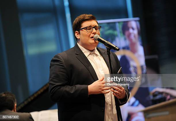 Winner of 'The Voice' Season 9 Jordan Smith performs during the Muscular Dystrophy Association Funding Announcement at Carnegie Hall on January 29...