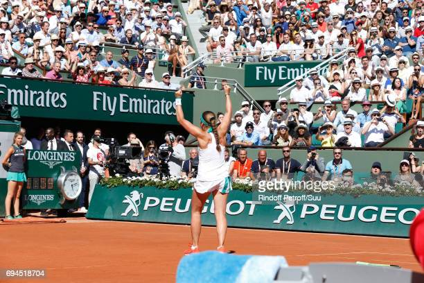 Winner of the Women Final Jelena Ostapenko acknowledges the applause of the audience after the Women Final of the 2017 French Tennis Open Day...