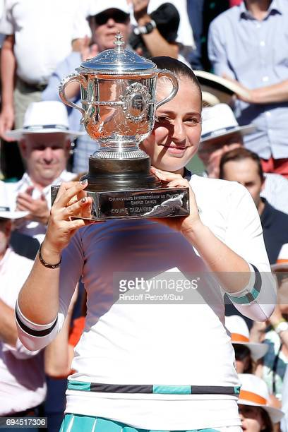 Winner of the Women Final Jelena Ostapenko poses with her Cup after the Women Final of the 2017 French Tennis Open Day Fourteen at Roland Garros on...